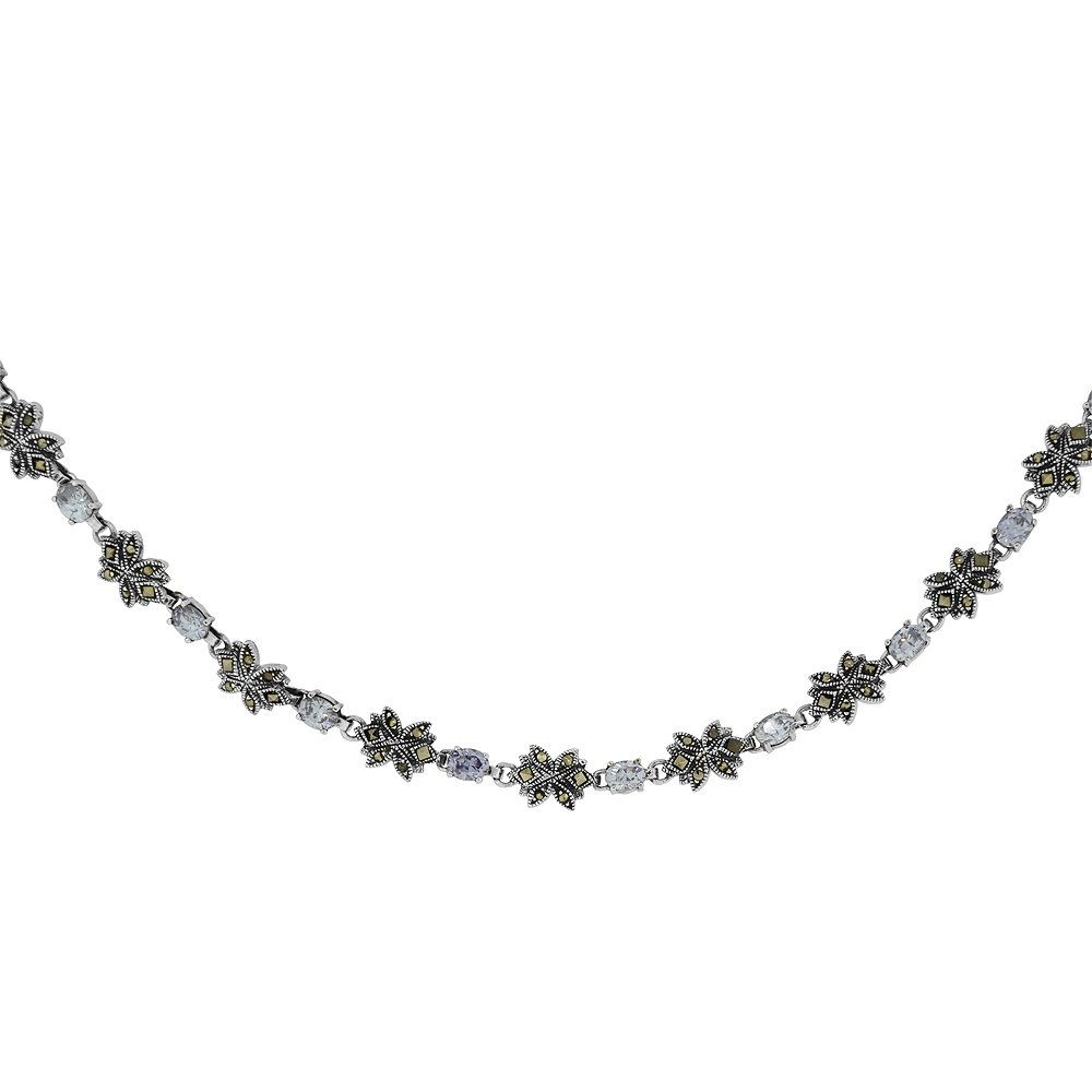 Sterling Silver Cubic Zirconia Lavender Flower Marcasite Necklace, 16 inches long