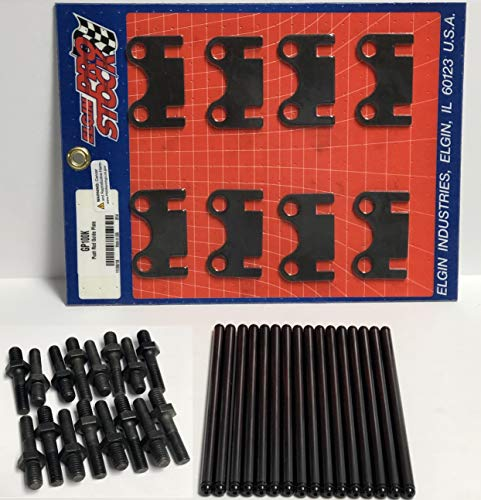 Rocker Arm Studs, Guide Plates & Hardened Push Rods Kit compatible with Chevrolet SBC 400 350 327 283 (5/16