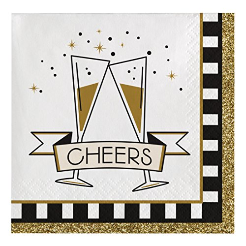 Glittering Beads Flutes (Creative Converting 317017 16 Count Paper Beverage Napkins, Midnight Celebration)