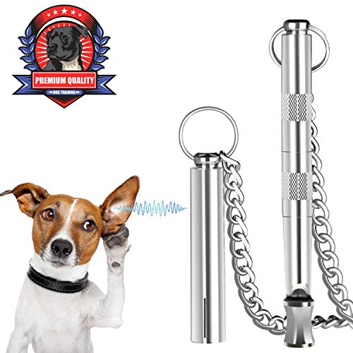 Dog Whistle, Professional Dog Training Tools, Adjustable Frequency Ultrasonic Pure Copper Dog Whistles & Dog Training Manual Instruction ()