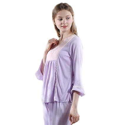 b33ad5cfbad2 Shirleyle Pijamas de Las Mujeres Conjunto Suave de Lujo 2 Piezas Loungewear  camisón Traje Elegante para