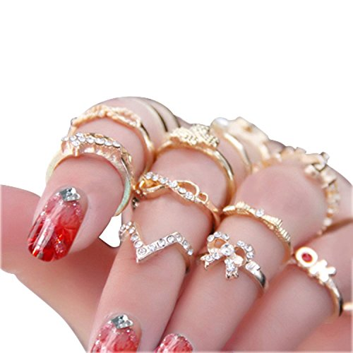 Womens Rhinestone Bowknot Knuckle Stacking product image