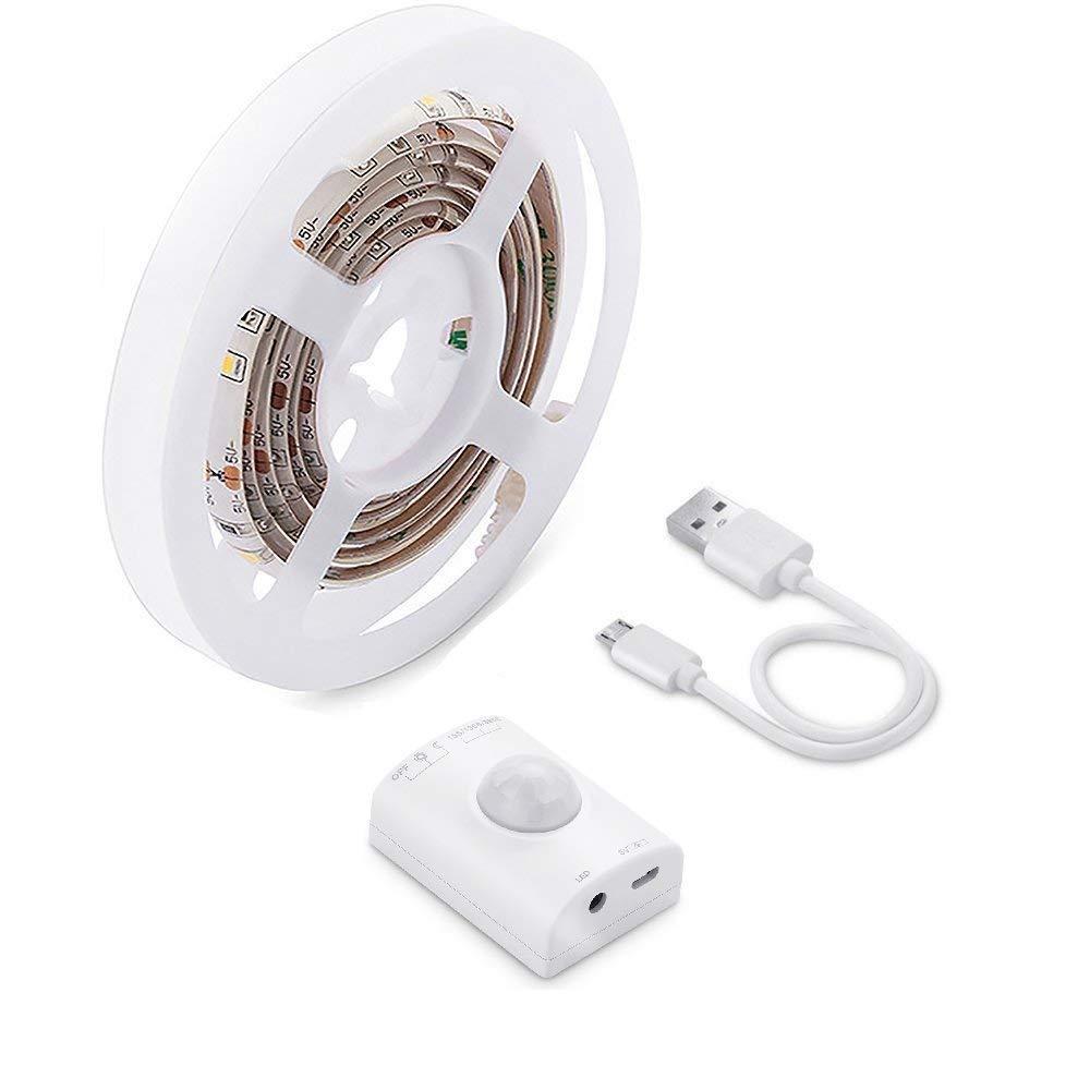 Luz Armario LED con Sensor de Movimiento, OriFiil 1M 30LED Tira Luz Cuerda USB Recargable Pilas Luz de Noche con 3 Modos y temporizador,para Pasillo, ...