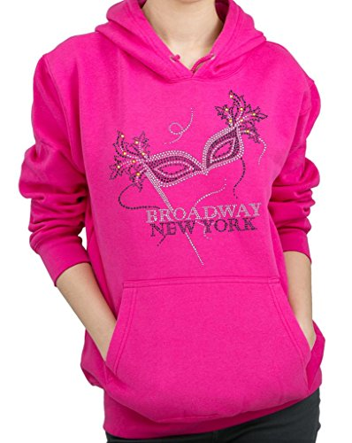 BROADWAY NEW YORK STICK MASK Rhinestone Hoodie Sweatshirt