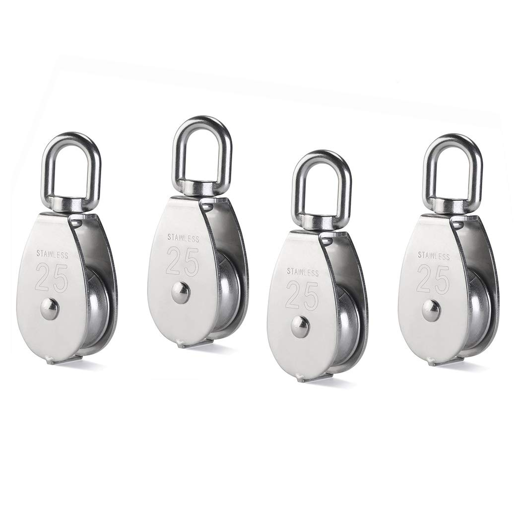 4Pcs M25 Single Pulley Block, Creatiee 304 Stainless Steel Pulley Roller, Crane Swivel Hook Smooth Wire Rope Cable Loading 331lbs/150 kg