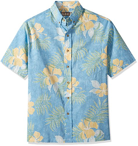 Kahala Men's Maui No Ka Oi Relaxed Fit Hawaiian Shirt, Blue, - Map Kahala Hawaii