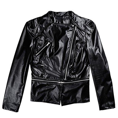 Fit Veste Freebily Femme Manteau Blousons Cuir Zipper Blazer 2xl Biker Longues S Slim Moto Noir Manches Veston De ww8q6RB