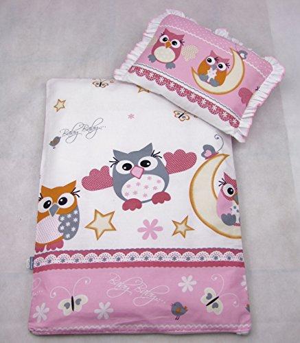Rawstyle 4 tlg. Große Eulen NEU Set Bezug für Kinderwagen Garnitur Bettwäsche Decke + Kissen + Füllung (Große Eule Rosa)