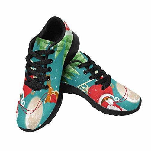 Interestprint Mujeres Trail Running Zapatos Jogging Deportes Ligeros Walking Athletic Sneakers Santa Claus En Trineo Con Renos En Snowy Christmas Night Landscape Multi 1