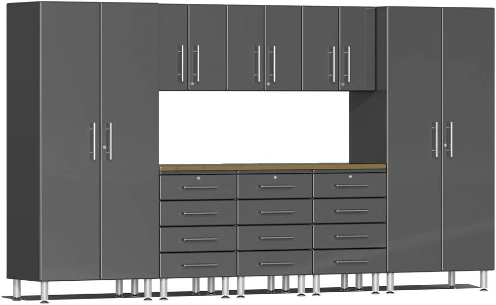 Ulti-MATE UG22092G 9-Piece Garage Cabinet Kit with Bamboo Worktop in Graphite Grey Metallic