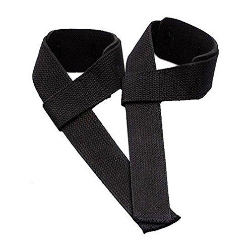 1 Pair Weight Lifting Training Gym Wrist Support Glove Wrap Hand Bar Black - Handle Nylon Adjustable Stirrup