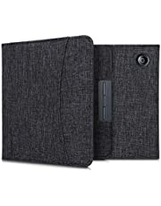 kwmobile Case Compatible with Kobo Libra H2O - Fabric Cover with Magnetic Closure, Strap, Pocket - Dark Grey
