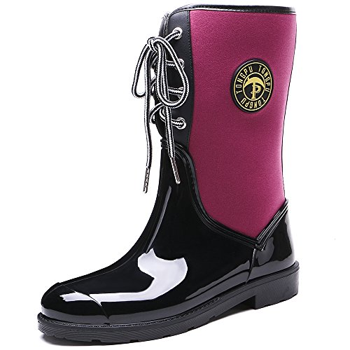 TONGPU Women's Comfortable Lace-Up Mid-Calf Rain Boots Black-fuchsia 1cnG5X8kTl