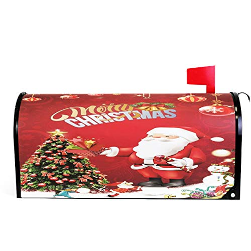 Merry Christmas Welcome Large Magnetic Mailbox Post Box Cover Wraps, Santa Tree Oversized Makover MailWrap Garden Home Decor ()