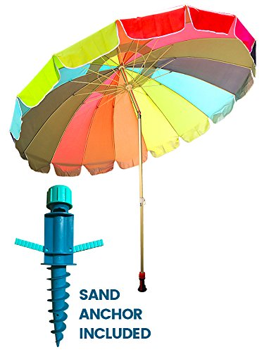 Party With Pride Giant 8' Rainbow Beach Umbrella / With U...