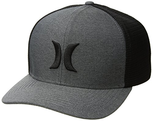 Hurley Men's ONE and Textures Snapback Curved Bill Trucker HAT, Black, S-M ()