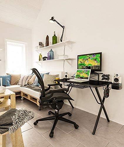 Atlantic Gaming Original Gaming-Desk Pro - Curved-Front, 10 Games, Controller, Headphone & Speaker Storage, 40.25x23.5 inch Curved Front Desktop, Enhanced Larger Design