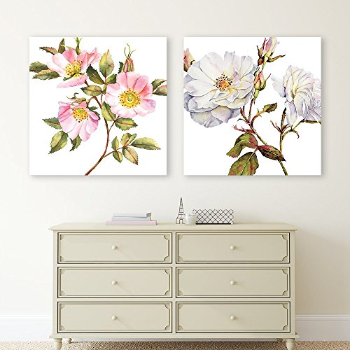 2 Panel Square Watercolor Style Flower Petals x 2 Panels