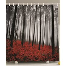 84 Inch Shower Curtains Mystic Forest Red Grass Modern Art Flower Rainy Foggy Gray Scene Miracle Feel Good Picture Print Extra Long Polyester Fabric Shower Curtain