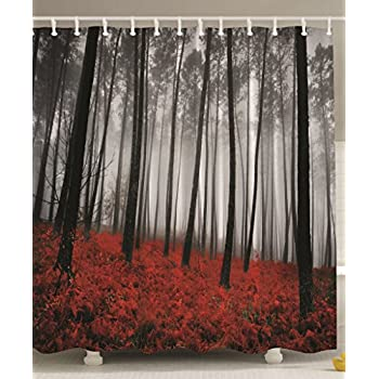 Mystic Forest Red Grass Primitive Art Flower Rainy Gray Foggy Scene Miracle Feel Good Print Prints Nature Fabric XLong Shower Curtain