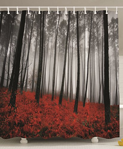 Fabric Shower Curtain Farmhouse Country Home Woodland Decor by Ambesonne, Mystic Forest Trees and Leaves Red Grass Modern Art Flower Rainy Foggy Gray Scene Print , 69x70 Inches Long, Black and Gray (Designer Shower Curtains Fabric)