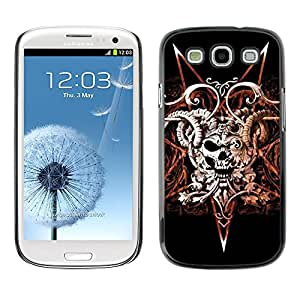 A-type Colorful Printed Hard Protective Back Case Cover Shell Skin for SAMSUNG Galaxy S3 III / i9300 / i747 ( Devil Rock Metal Horns Skull Black )