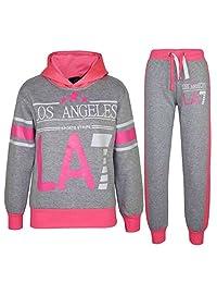 Kids Girls Tracksuit LOS ANGELES LA7 Print Hoodie & Bottom Jog Suit 7-13 Years