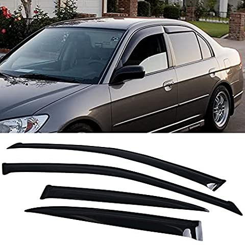 Window Visor Fits 2001-2005 Honda Civic EM2 | Slim Style Acrylic Smoke Tinted & Semi-Transparent 4PCS Sun Rain Shade Guard Wind Vent Air Deflector by IKON MOTORSPORTS | 2002 2003 (2002 Honda Lx)