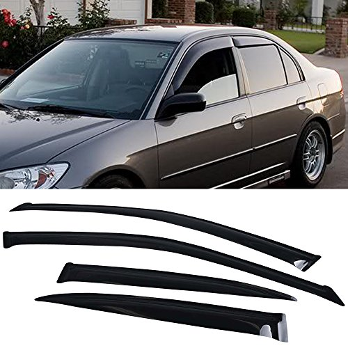 Hybrid Window (Window Visor Fits 2001-2005 Honda Civic EM2 | Slim Style Acrylic Smoke Tinted & Semi-Transparent 4PCS Sun Rain Shade Guard Wind Vent Air Deflector by IKON MOTORSPORTS | 2002 2003 2004)