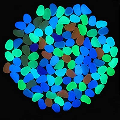 TOPIA STAR Glow in The Dark Pebbles, Glow Decorative Stones Rocks, Luminous Pebbles for Outdoor Decor, Garden Lawn Yard, Aquarium, Walkway, Fish Tank, Pathway, Driveway (100 PCS, Multicolor) : Garden & Outdoor