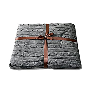 NTBAY 100% Cotton Super Soft Warm Multi Color Throw(Grey)