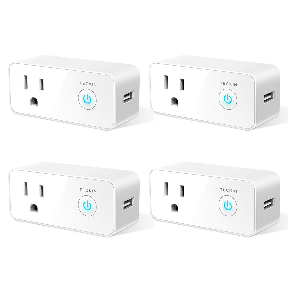 Smart Plug Wifi Outlet USB mini Socket Compatible with Alexa, Google Home& IFTTT, Schedule Timer Function Control Electric Allliances Devices, Prevent Overcharging 4 Pack