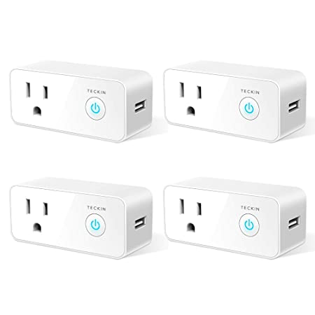 Smart Plug Wifi Outlet USB mini Socket Compatible with Alexa, Google Home IFTTT, Schedule Timer Function Control Electric Allliances Devices, Prevent Overcharging 4 Pack