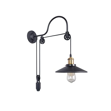 san francisco c4c76 e44a4 Retro Industrial Adjustable Gooseneck Wall Mounted Lamp Pulley Wall Lamp  Wheel Wall Light with 1 Light