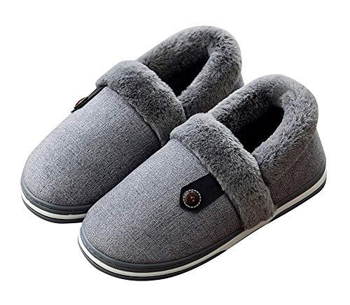 Grey AGOWOO Fur Faux House Slippers Womens Anti Fuzzy Slip Soft rHnrzcW