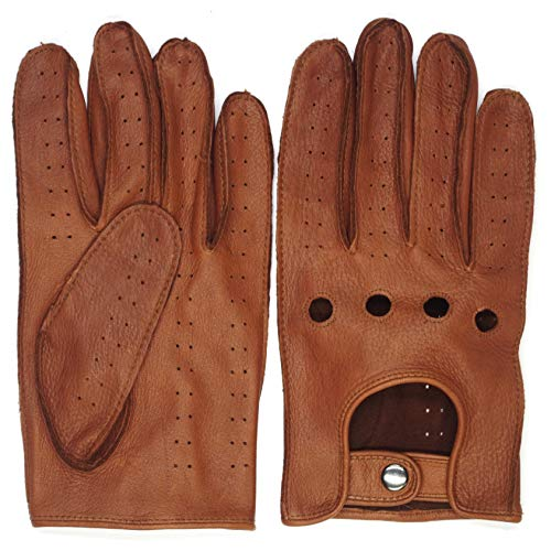 - Mens Smart Soft And Excellent Quality Italian Deerskin SaddleBrown Leather Driving Gloves For Men