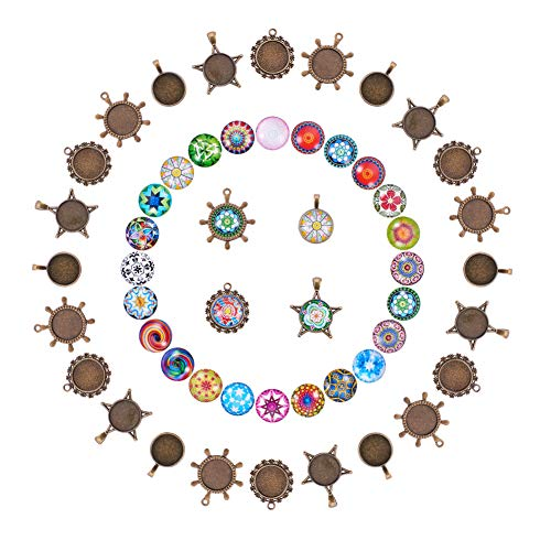 - PandaHall Elite 40 Sets 4 Shape Tibetan Styles Alloy Blank Trays Bezel Pendant with 20mm Glass Cabochon Round Dome Tiles for Crafting DIY Jewelry Making Antique Bronze(Cabochon Random)