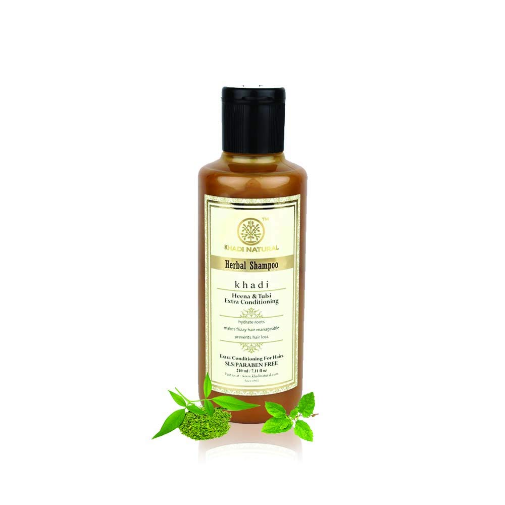 Khadi Natural Herbal Ayurvedic Henna Tulsi Conditioning Shampoo for all Hair Types SLS and Paraben Free