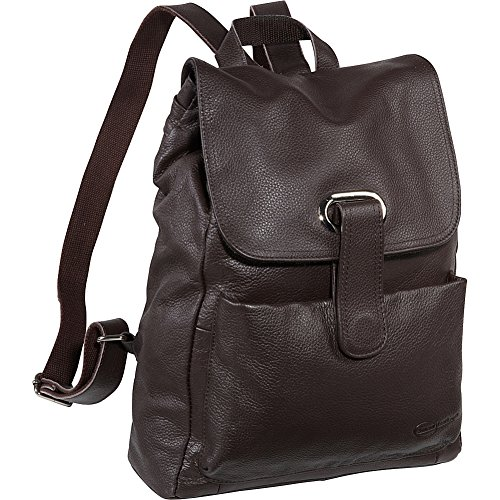 Amerileather Miles Leather Flapover Drawstring Backpack D...