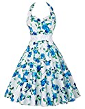 Halter Neck 50s White with Blue Flower Vintage Swing Party Dress (L)