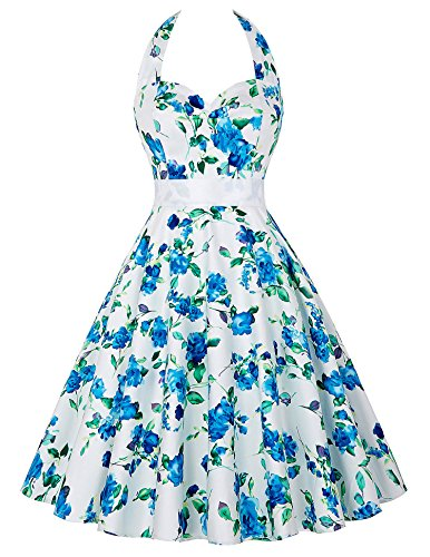 KARIN Sash with Dress Vintage Cocktail 1950s White Party GRACE Swing Women Blue Halter dZfdvF