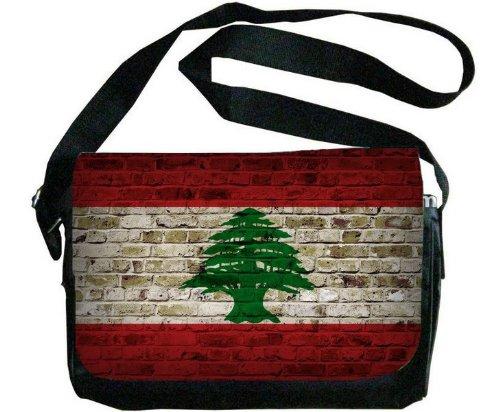 レバノン国旗レンガ壁デザインメッセンジャーバッグ B00F1YDND6