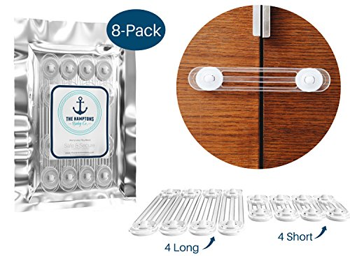 Cabinet Locks & Drawer Safety Latches by The Hamptons Baby | Use for Baby-proofing your cabinets, drawers, refrigerator or dishwasher | Adhesive installation, Tools Not Required | 4 Large clear straps