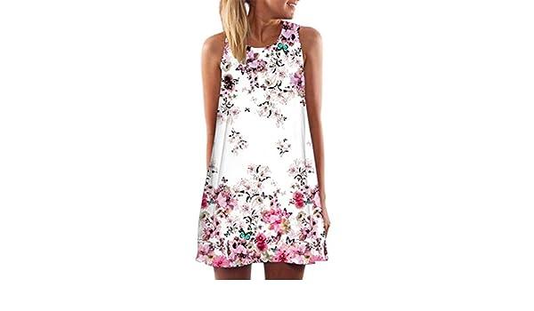 5263de613ff Amazon.com  Women Dress Daoroka Sexy Plus Size Off Shoulder Floral Print  Sleeveless Casual Loose Evening Party Maxi Beach Mini Skirt (XL