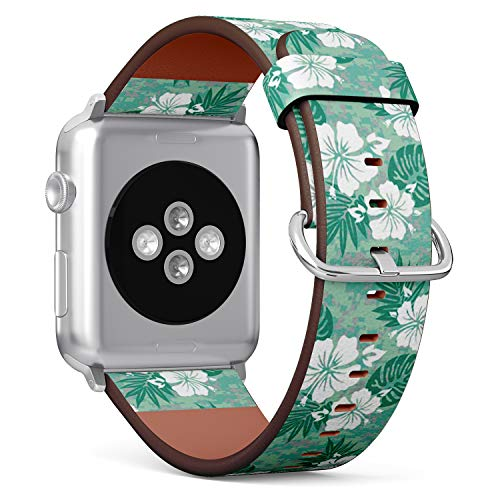 Compatible with Apple Watch (Small 38mm/40mm) Series 1,2,3,4 - Leather Band Bracelet Strap Wristband Replacement - Hawaiian Aloha Camouflage