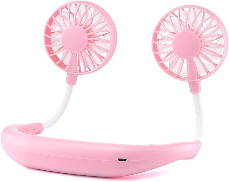 Mggsndi Mini Headphone Style USB Neckband Fan Cooler,Summer Portable Rechargeable Hand Free Wearable Air Cooler with Strong Wind,for Home Office Car Outdoor Travel Pink