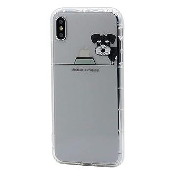 Keyihan iPhone XS/iPhone X Funda Carcasa Cómic Divertido Perro Lindo patrón Transparente Suave TPU Silicona Shockproof Parachoques Bumper Case para ...