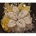 Corsage-Pin-on-Yellow-BEADED-Lily-with-roses-beads-and-rhinestones-Also-sold-with-matching-silk-boutonniere-Other-colors-offered-in-my-Amazon-store
