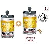 Bière - PELFORTH Lot de 2 Fûts de biere Blonde - Compatible Beertender - 5 L