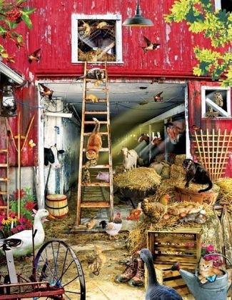 - SunsOut Moving Day 1000 pc Jigsaw Puzzle Animal Farm Barnyard Theme